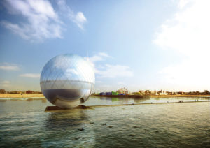 The Clear Orb copyright by Jaesik Lim, Ahyoung Lee, Jaeyeol Kim, Taegu Lim (Heerim Architects). A submission to the 2016 Land Art Generator competition for Santa Monica.