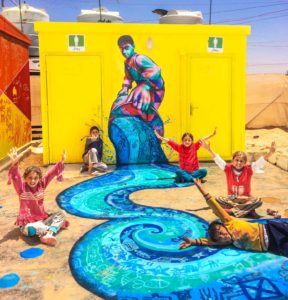 Environmental Murals copyright by 2017 Joel Artista, in collaboration with local Syrian refugee children in the Za